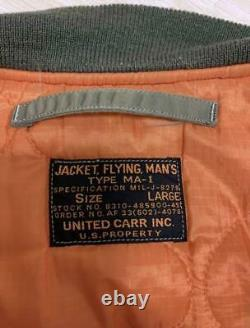 Buzz Rickson's United carr MA-1 Jacket Khaki Size L Used From Japan