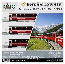 Kato 10-1655 Swiss Rhaetian Railway Bernina Express Logo 3-unit Basic Set Japan