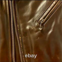 UNITED ARROWS Horsehide Double Biker Jacket Dark brown Size S Used from Japan